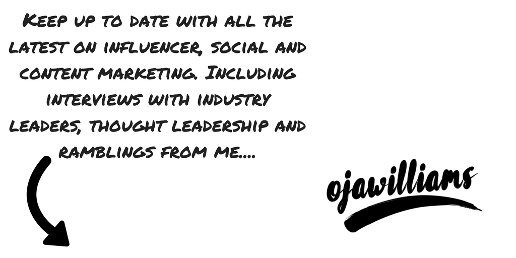 Keep up to date with all the latest on influencer, social and content marketing. Including interviews with industry leaders, thought leadership and ramblings from me....